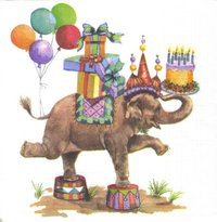 Serviette Jumbo Birthday ! Elefant
