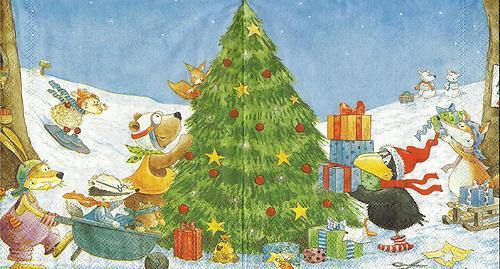 serviette weihnachten mit rabe socke. Black Bedroom Furniture Sets. Home Design Ideas