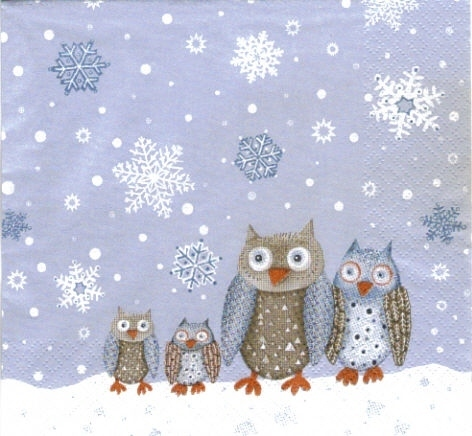 Serviette Winter Owls ! Eulenfamilie