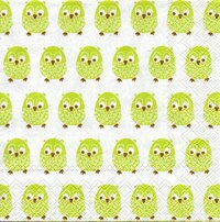 Serviette Little Owls light green