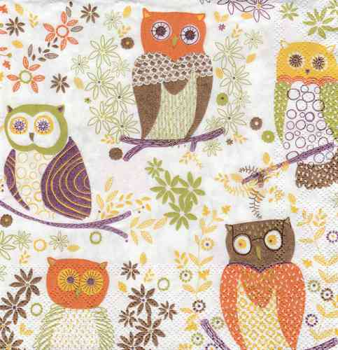 Serviette Jolly Owls light brown
