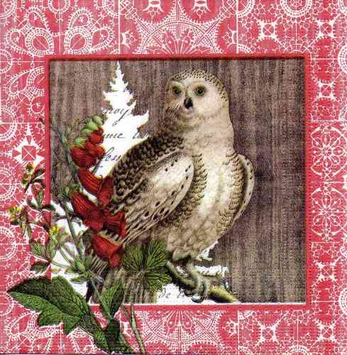 Serviette Winter Woods Owl