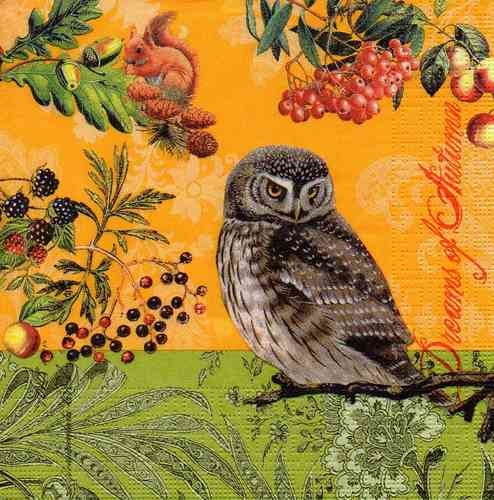 Serviette Autumn Owl