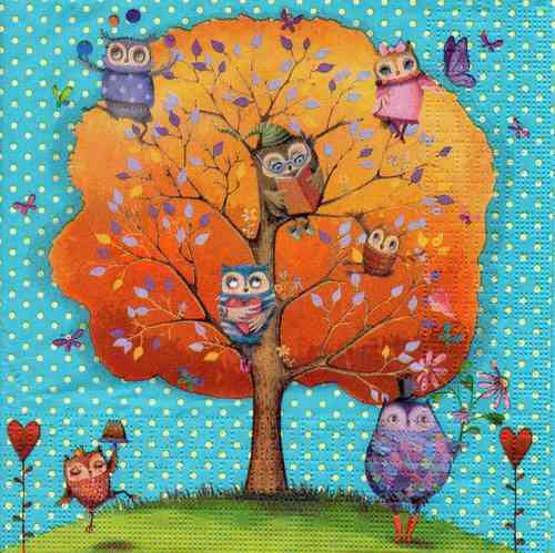 Serviette Owls Favorite Tree