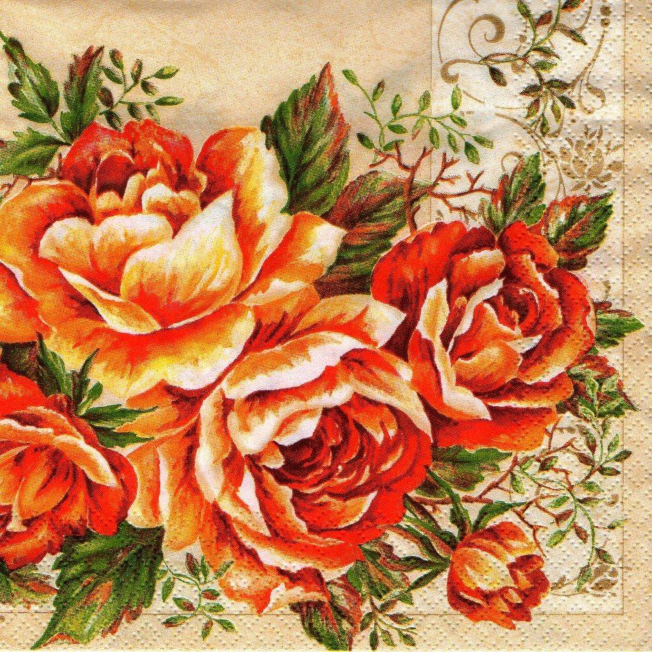 serviette rosen orange. Black Bedroom Furniture Sets. Home Design Ideas
