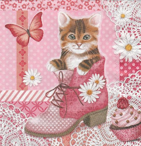 Serviette Cat in Shoe