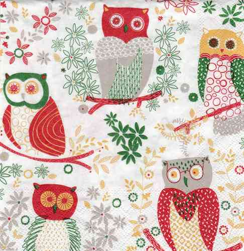 Serviette Jolly Owls red