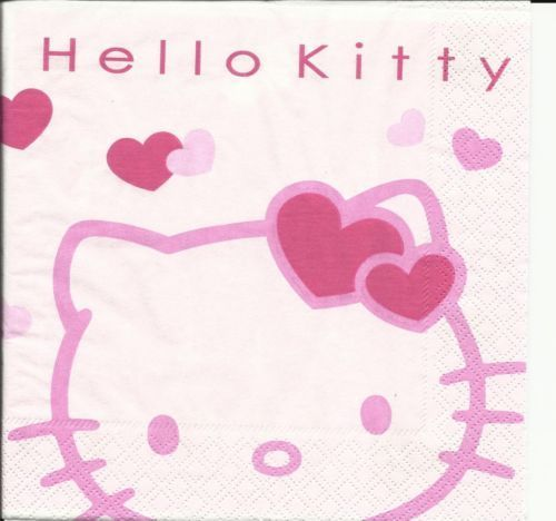 Serviette Hello Kitty white pink