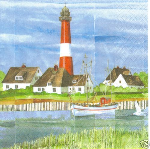 Serviette Coastal Mood ! Leuchtturm