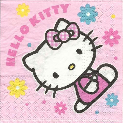 Serviette Hello Kitty rose