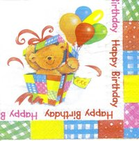 Serviette Happy Birthday Teddy