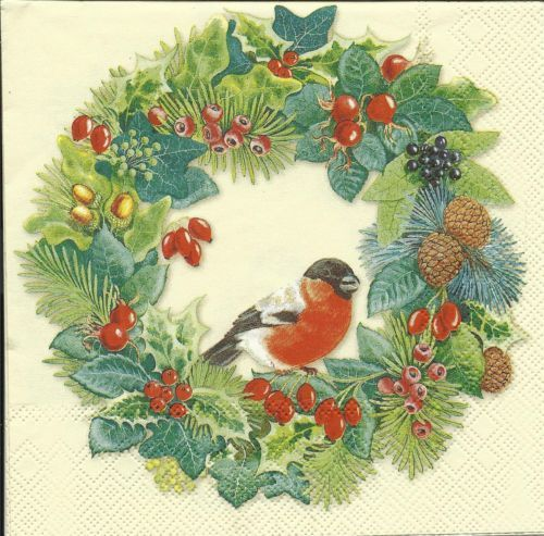 Serviette Winter Bird cream ! Vogel Kranz