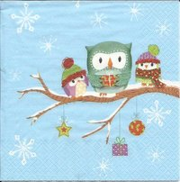 Serviette Owls in Snow ! Eulen im Schnee