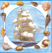 Serviette Clipper Ship ! Segelschiff Muscheln