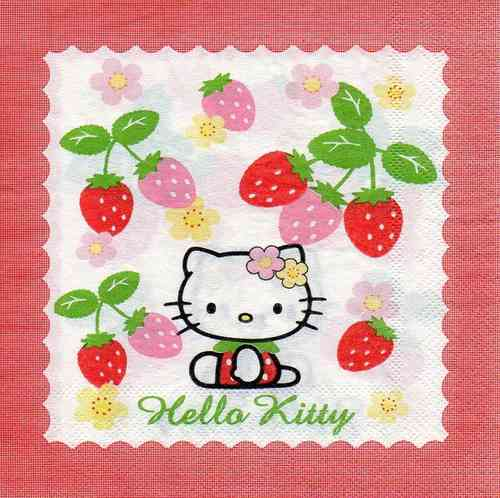 Serviette Hello Kitty Strawberry