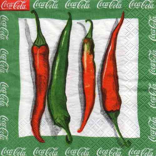 Serviette Coca Cola Chilli Peppers green