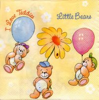 Serviette Little Bears yellow