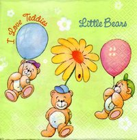 Serviette Little Bears green