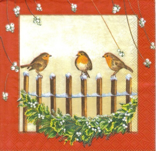 Serviette Birds on Fence red