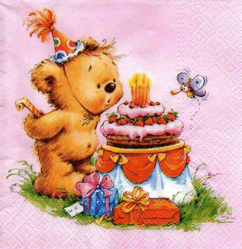 Serviette Birthday Bear pink