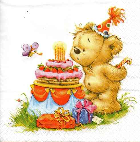 Serviette Birthday Bear white