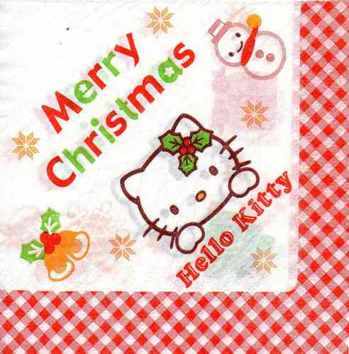 Serviette Merry Christmas - Hello Kitty