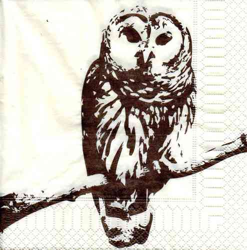 Serviette Painted Owl