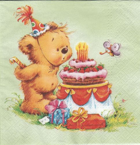 Serviette Birthday Bear mint