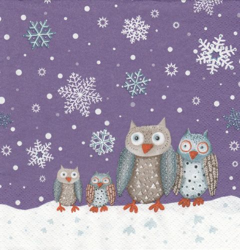 Serviette Winter Owls lilac ! Eulenfamilie