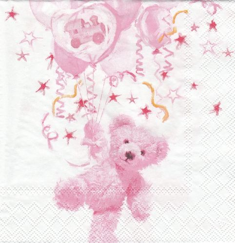 Serviette Teddy rose
